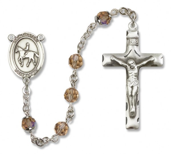 St. Kateri Rosary with Equestrian Heirloom Squared Crucifix - Topaz