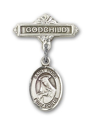Pin Badge with St. Rose of Lima Charm and Godchild Badge Pin - Silver tone