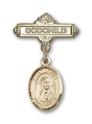 Pin Badge with St. Louise de Marillac Charm and Godchild Badge Pin - 14K Solid Gold