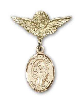Pin Badge with St. Clare of Assisi Charm and Angel with Smaller Wings Badge Pin - 14K Solid Gold