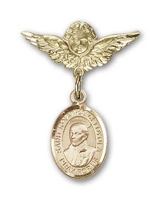 Pin Badge with St. Ignatius Charm and Angel with Smaller Wings Badge Pin - Gold Tone