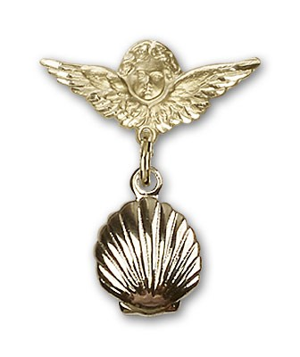 Baby Pin with Shell Charm and Angel with Smaller Wings Badge Pin - 14K Solid Gold