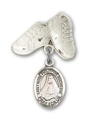 Pin Badge with St. Rose Philippine Charm and Baby Boots Pin - Silver tone