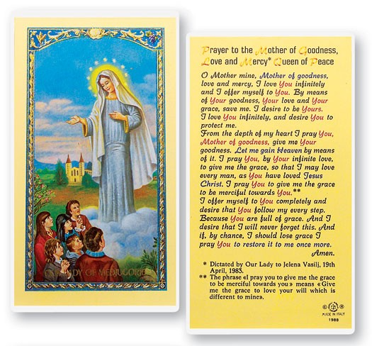 Prayer To Our Lady of Medjugorje Laminated Prayer Cards 25 Pack - Full Color