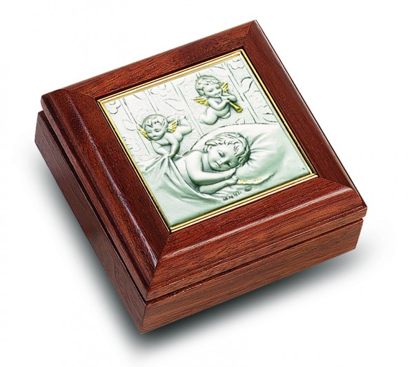Salerni Sterling Silver & Walnut Baby Keepsake Box - Brown