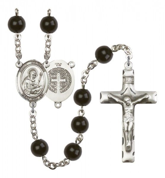 Men's St. Benedict Silver Plated Rosary - Black