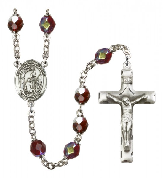 Men's St. Paul the Hermit Silver Plated Rosary - Garnet