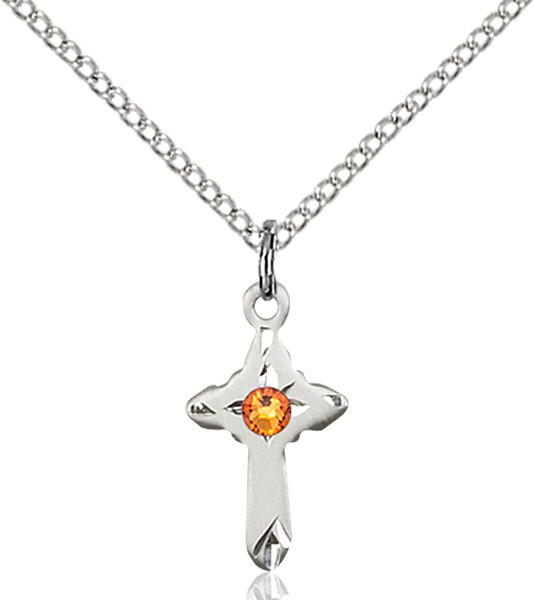 Child's Pointed Edge Cross Pendant with Birthstone Options - Topaz