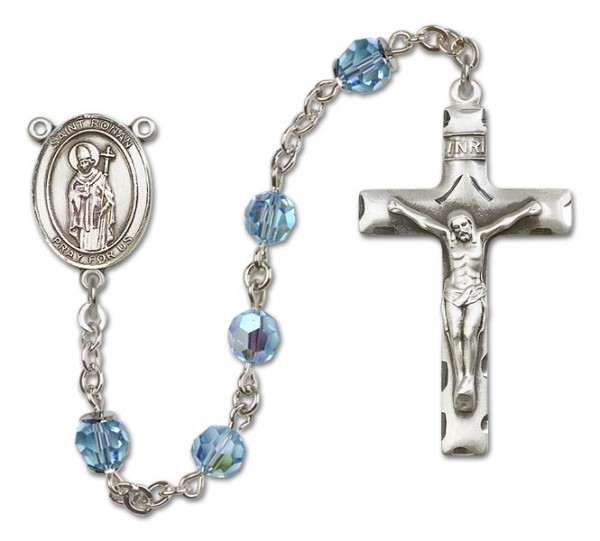St. Ronan Sterling Silver Heirloom Rosary Squared Crucifix - Aqua