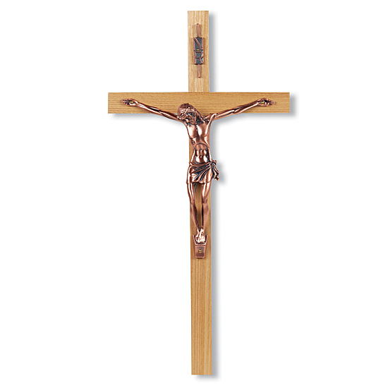 Oak Wood Wall Crucifix with Copper-Plated Corpus - 13 inch - Brown