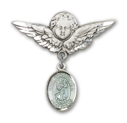 Pin Badge with St. Christopher Charm and Angel with Larger Wings Badge Pin - Silver | Blue