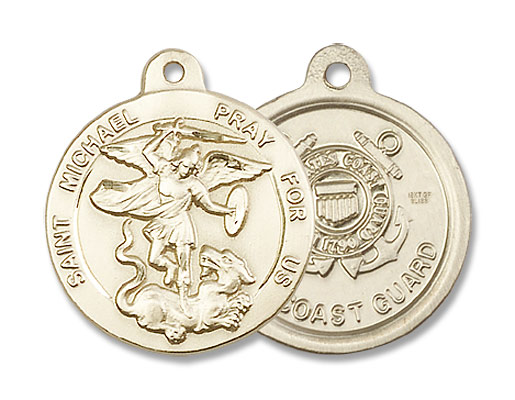 St. Michael the Archangel Coast Guard Medal - 14K Yellow Gold