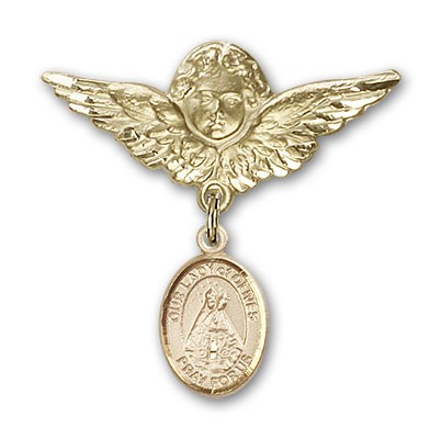 Pin Badge with Our Lady of Olives Charm and Angel with Larger Wings Badge Pin - 14K Solid Gold