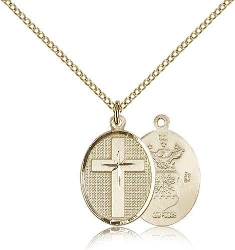 Cross Air Force Pendant - 14KT Gold Filled