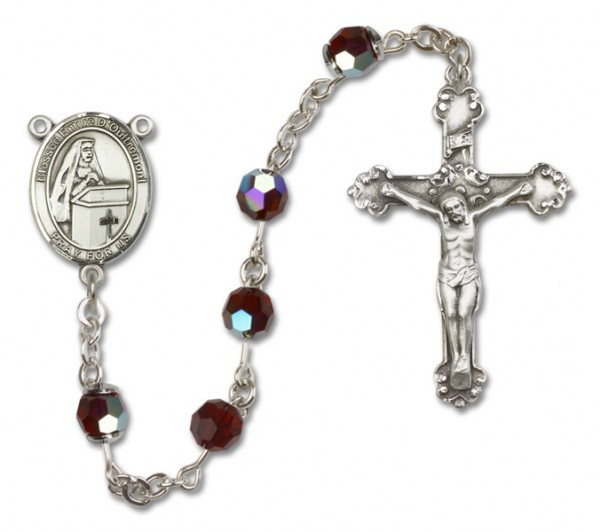 Emilee Doultremont Sterling Silver Heirloom Rosary Fancy Crucifix - Garnet