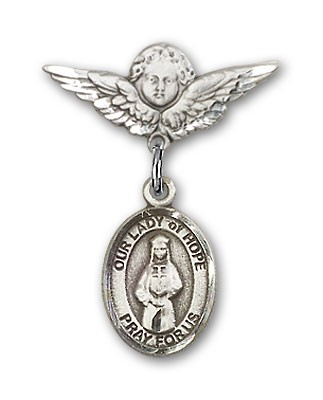Pin Badge with Our Lady of Hope Charm and Angel with Smaller Wings Badge Pin - Silver tone