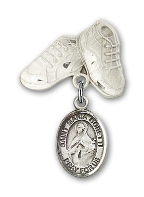 Pin Badge with St. Maria Goretti Charm and Baby Boots Pin - Silver tone