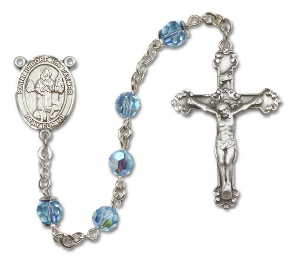 St. Isidore the Farmer Sterling Silver Heirloom Rosary Fancy Crucifix - Aqua