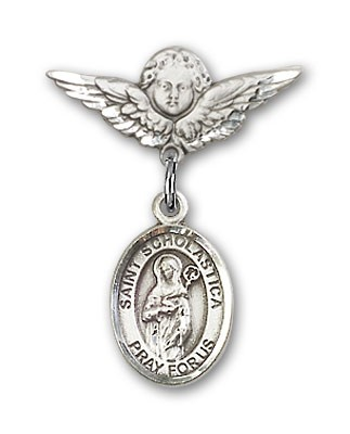 Pin Badge with St. Scholastica Charm and Angel with Smaller Wings Badge Pin - Silver tone