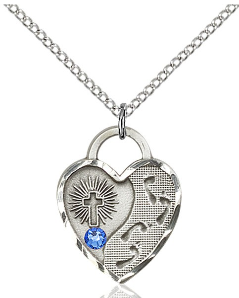 Heart Shaped Footprints Pendant with Birthstone Options - Sapphire