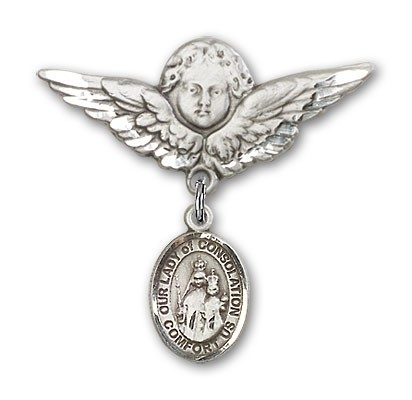 Pin Badge with Our Lady of Consolation Charm and Angel with Larger Wings Badge Pin - Silver tone