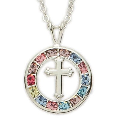 First Communion Multi-color Circle Pendant with Cross Center   - Multi-Color