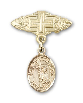 Pin Badge with St. Paul of the Cross Charm and Badge Pin with Cross - 14K Yellow Gold