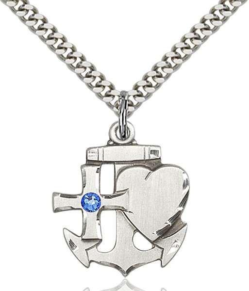 Faith Hope and Charity Pendant with Birthstone Option - Sapphire
