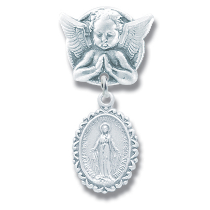 Baby Pin Guardian Angel and Miraculous Medal Sterling Silver - Sterling Silver
