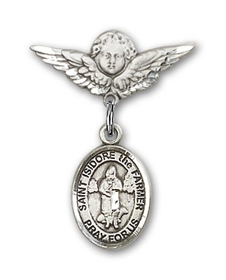 Pin Badge with St. Isidore the Farmer Charm and Angel with Smaller Wings Badge Pin - Silver tone