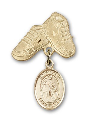 Pin Badge with St. Ann Charm and Baby Boots Pin - 14K Solid Gold