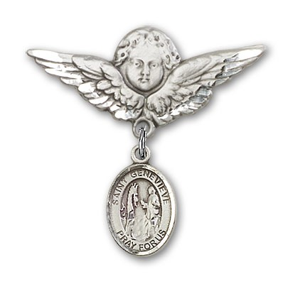 Pin Badge with St. Genevieve Charm and Angel with Larger Wings Badge Pin - Silver tone