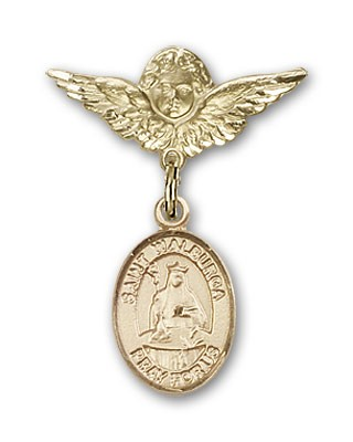 Pin Badge with St. Walburga Charm and Angel with Smaller Wings Badge Pin - Gold Tone