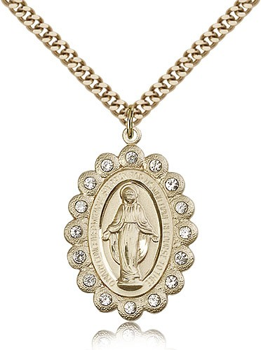Miraculous Medal Necklace with Clear Swarovski Crystals - 14KT Gold Filled