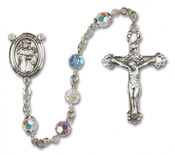 St. Casimir of Poland Sterling Silver Heirloom Rosary Fancy Crucifix - Multi-Color