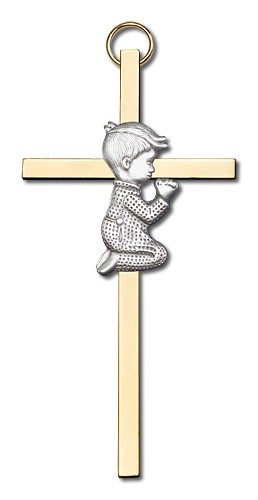"Praying Boy Cross  4"" - Two-Tone Gold"