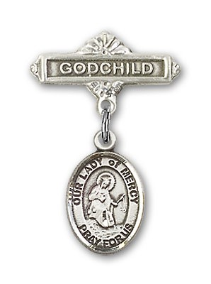 Baby Badge with Our Lady of Mercy Charm and Godchild Badge Pin - Silver tone