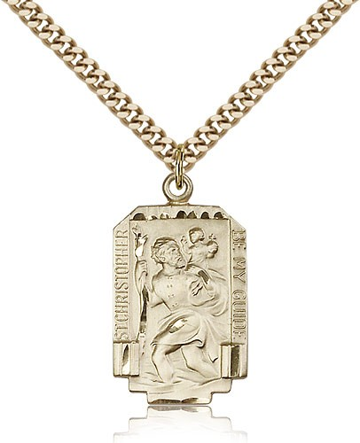 Rectangular St. Christopher Necklace with Satin Finish - 14KT Gold Filled