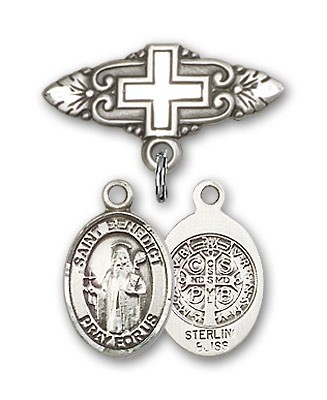 Pin Badge with St. Benedict Charm and Badge Pin with Cross - Silver tone