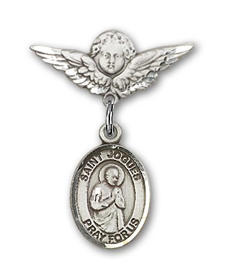 Pin Badge with St. Isaac Jogues Charm and Angel with Smaller Wings Badge Pin - Silver tone