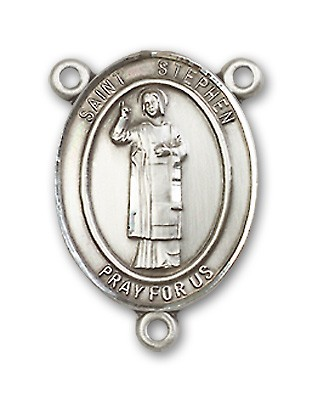 St. Stephen the Martyr Rosary Centerpiece Sterling Silver or Pewter - Sterling Silver