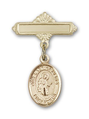 Pin Badge with Our Lady of Mercy Charm and Polished Engravable Badge Pin - Gold Tone