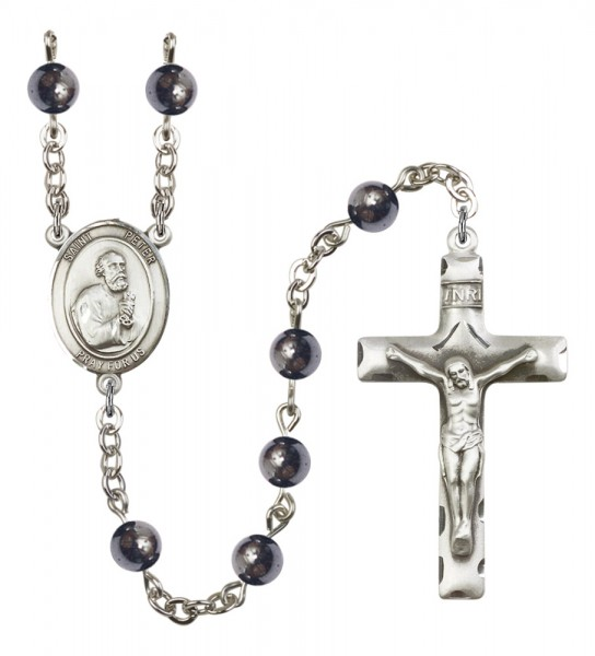 Men's St. Peter the Apostle Silver Plated Rosary - Gray
