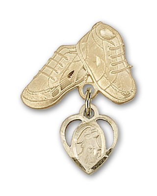 Baby Badge with Guardian Angel Charm and Baby Boots Pin - Gold Tone
