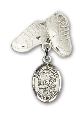 Pin Badge with St. Rosalia Charm and Baby Boots Pin - Silver tone