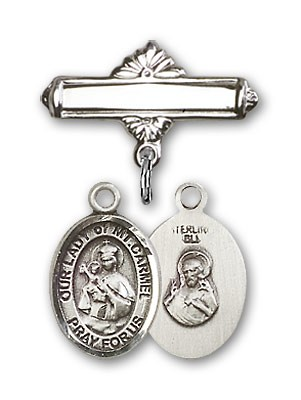 Pin Badge with Our Lady of Mount Carmel Charm and Polished Engravable Badge Pin - Silver tone