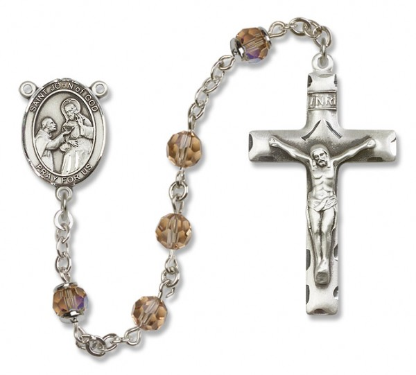 St. John of God Sterling Silver Heirloom Rosary Squared Crucifix - Topaz
