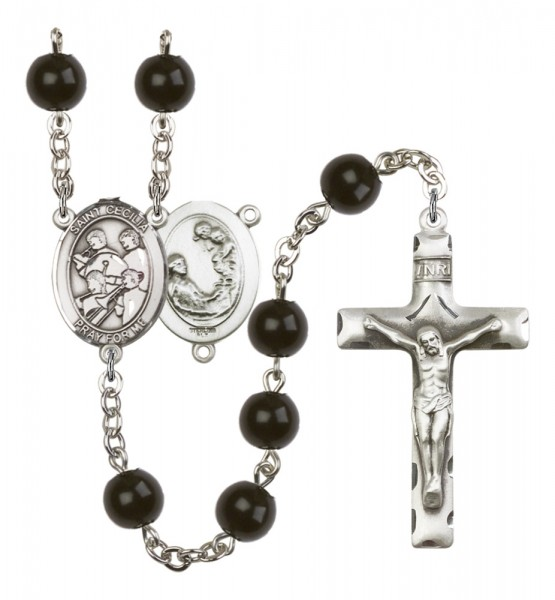 Men's St. Cecilia Marching Band Silver Plated Rosary - Black