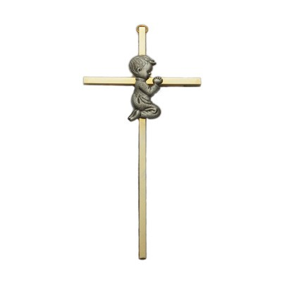 "Praying Boy Brass Baby Cross 7""H   - Brass"
