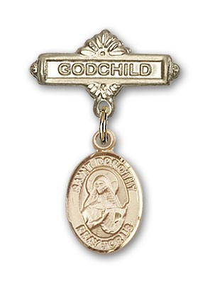 Pin Badge with St. Dorothy Charm and Godchild Badge Pin - 14K Yellow Gold